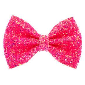 Neon Glitter Mini Hair Bow Clip - Pink,