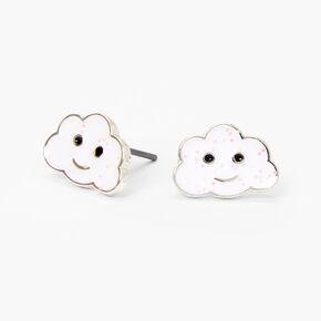 Sterling Silver Glitter Cloud Stud Earrings - White,