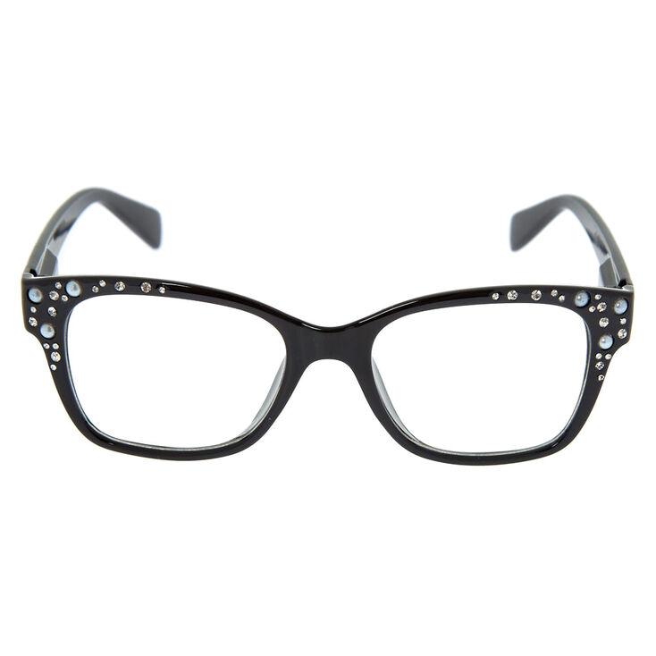 Embellished Retro Clear Lens Frames - Black,