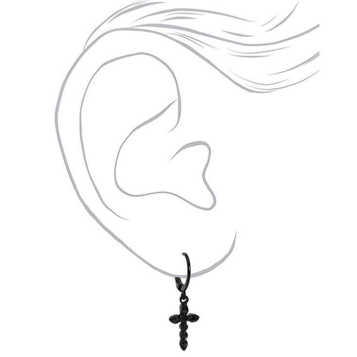 Black 10MM Embellished Cross Huggie Hoop Earrings,
