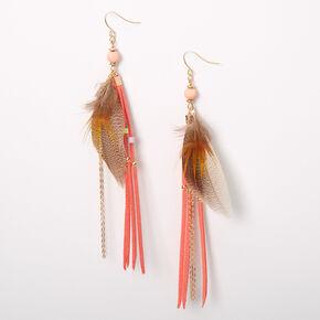 "Gold 5.5"" Feather Fringe Tassel Drop Earrings - Coral,"