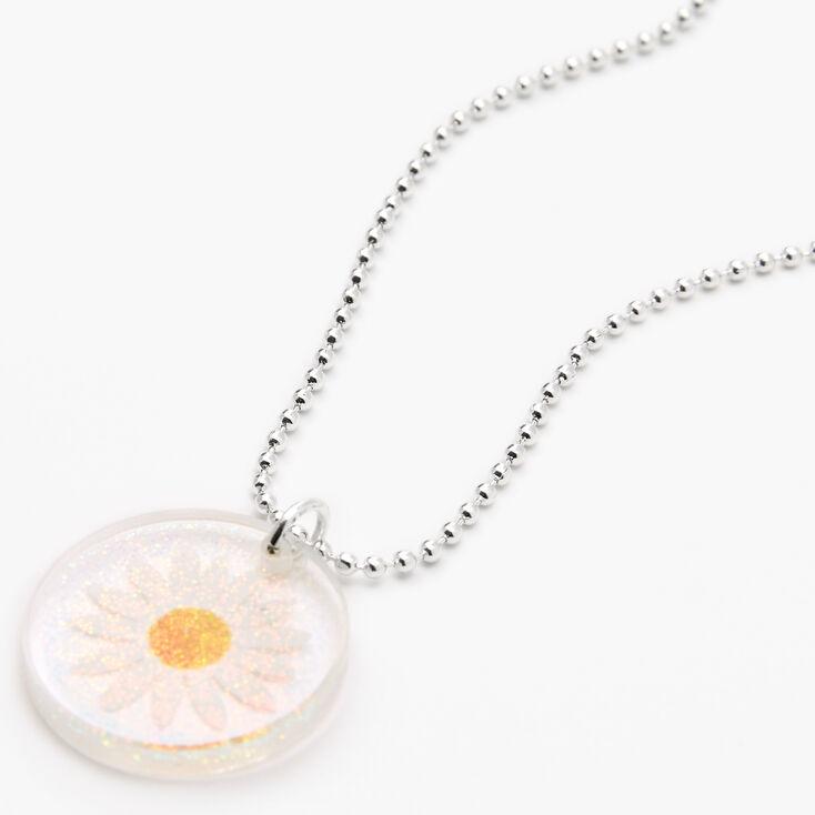 Daisy Glitter Silver Necklace,