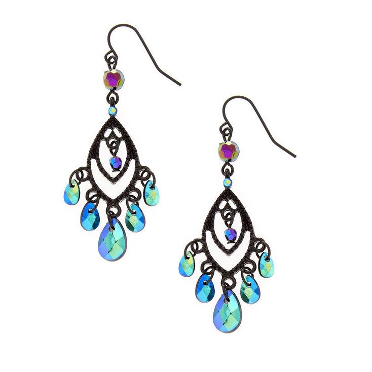 Pendants d'oreilles noirs ajourés à frange en perle d'imitation avec marquise et effet miroir,