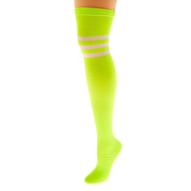 Neon Over The Knee Socks - Yellow,