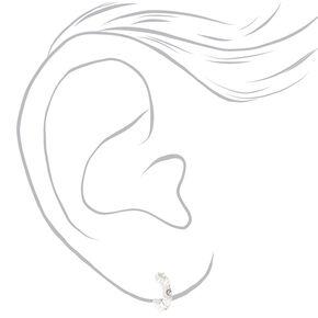 Silver Crystal Pearl Mixed Stud Earrings - 3 Pack,