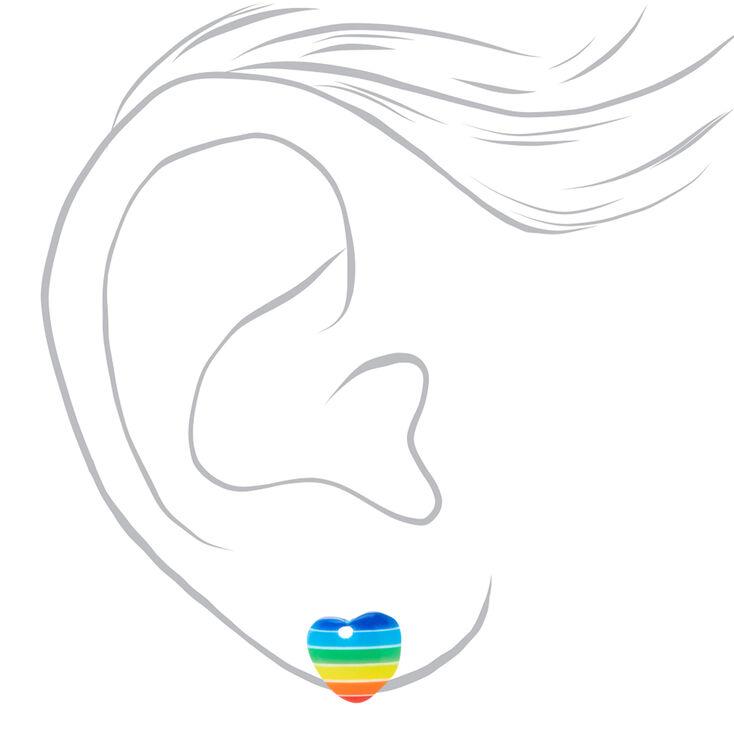 Silver Rainbow Hearts Stud Earrings - 3 Pack,