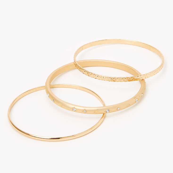 Gold Celestial Rhinestone Bangle Bracelets - 3 Pack,
