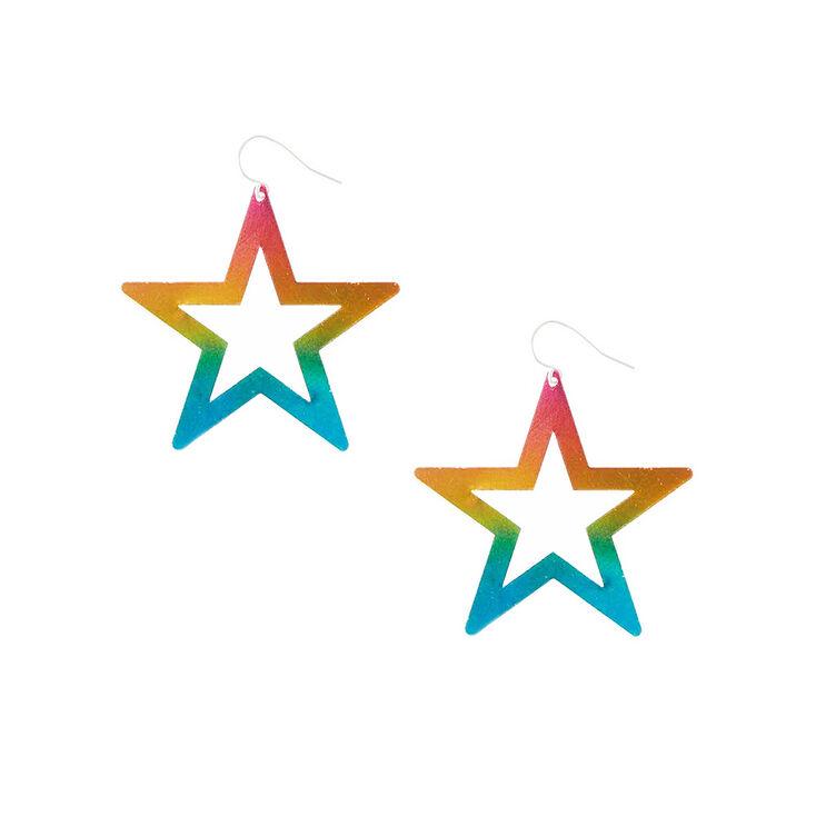 Pendants d'oreilles étoiles arc-en-ciel,