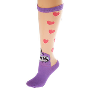 7d3ae7572 Sheer Sloth Heart Knee High Socks - Purple