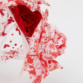 Serre-tête à voile floral avec éclaboussures de sang,