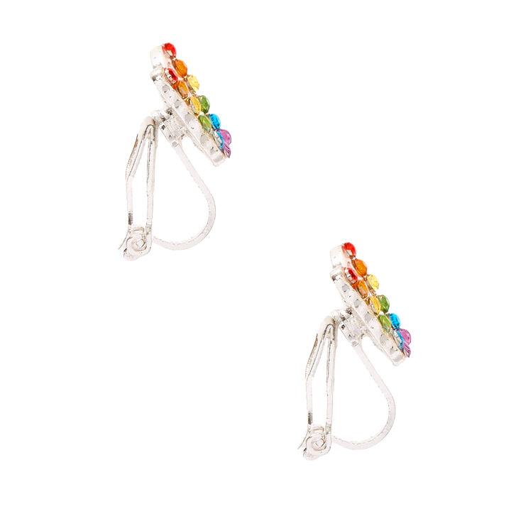 Rainbow Butterfly Clip On Earrings,