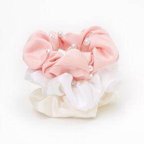 Neutral Pearl Hair Scrunchies - Pink, 3 Pack,