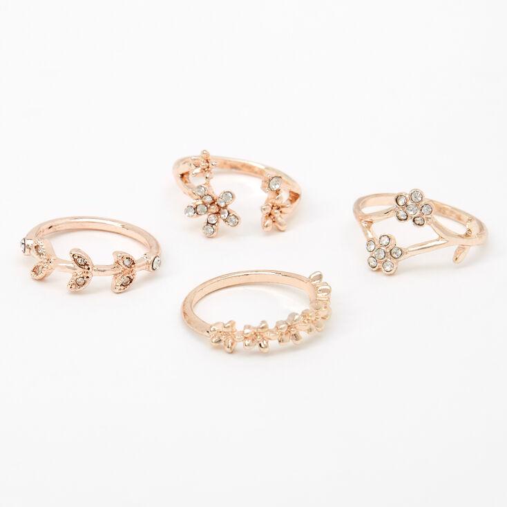 Rose Gold Flower Vine Rings - 4 Pack,