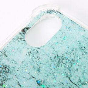 Mint Marble Sparkle Protective Phone Case - Fits iPhone XR,