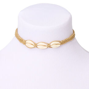 Cowrie Shell Woven Choker Necklace - Tan,