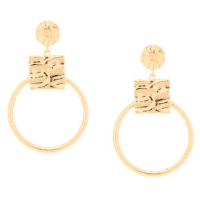 """Go to Product: Gold 2.5"""" Geometric Drop Earrings from Claires"""