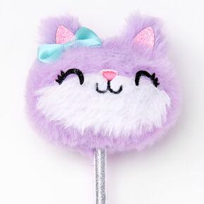 Plush Cat Glitter Pen - Purple,