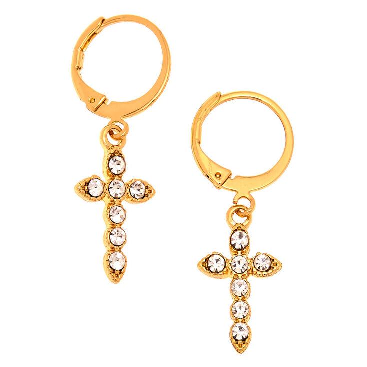 Gold 10MM Cross Huggie Hoop Earrings,