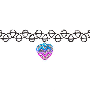 Chevron Heart Tattoo Choker Necklace,