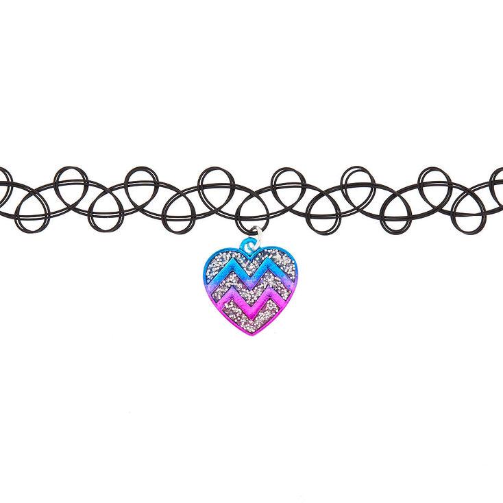 Chevron Heart Tattoo Choker Necklace,