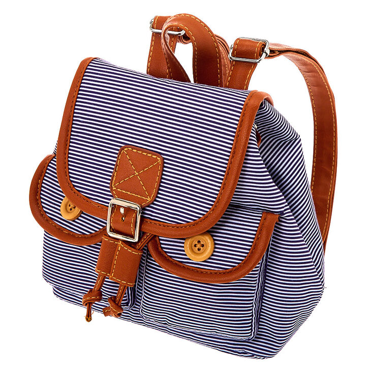 Claire's Club Striped Mini Backpack - Navy,