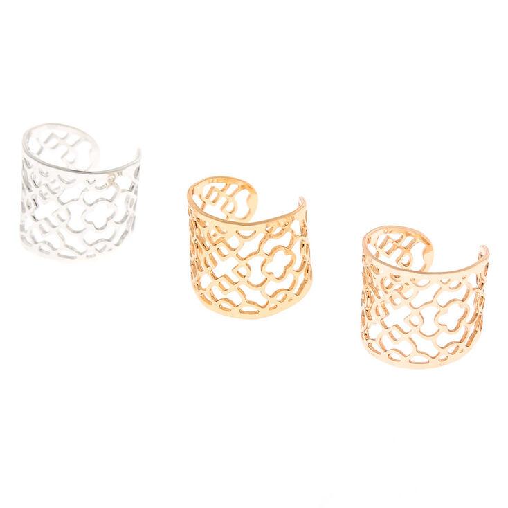 Mixed Metal Filigree Ear Cuffs - 3 Pack,