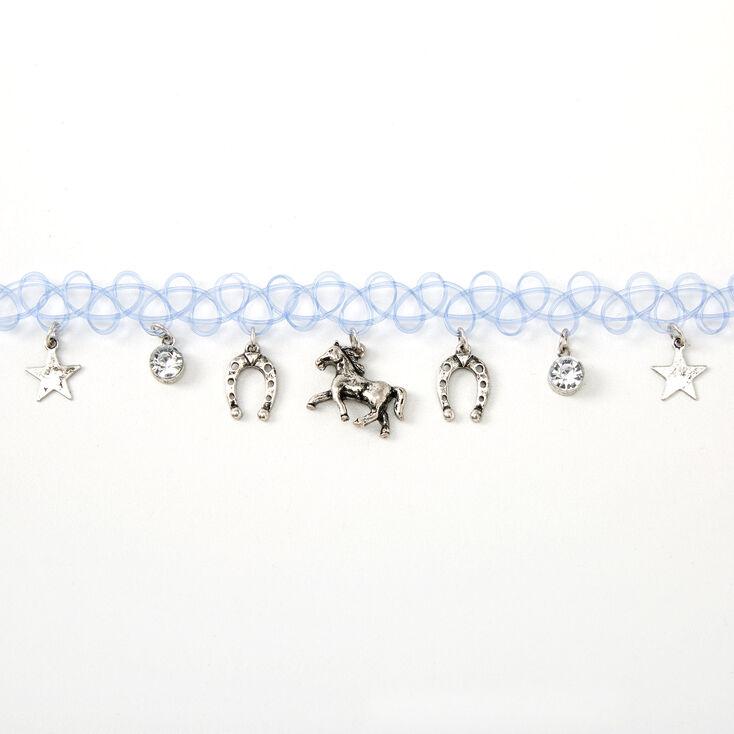 Wild West Tattoo Choker Necklace - Blue,