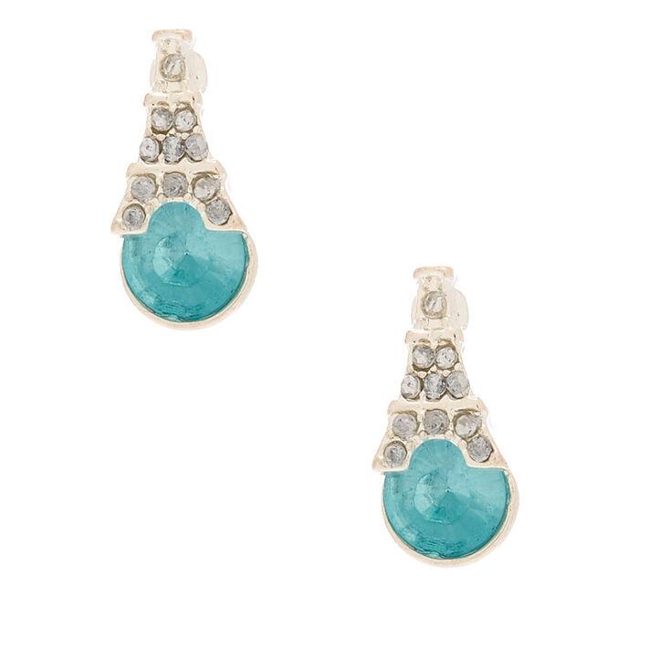 Silver Eiffel Tower Stone Stud Earrings - Blue,