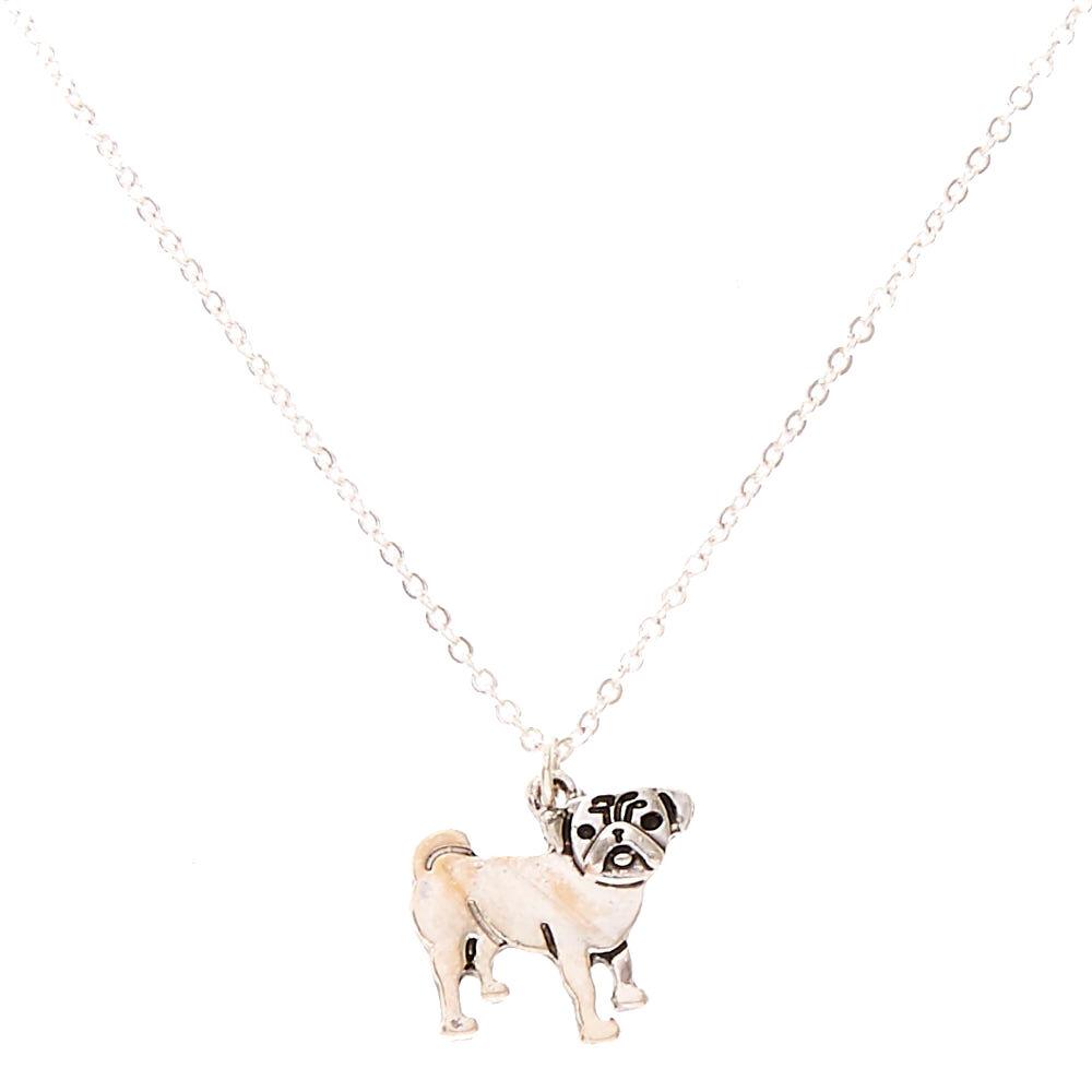 Silver Tone Pug Pendant necklace,