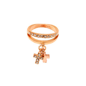 Rose Gold Cross Charm Midi Ring,