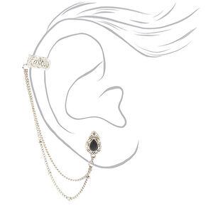 Silver Teardrop Connector Earring Set,
