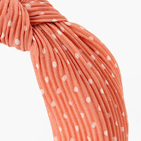 Polka Dot Pleated Knotted Headband - Blush Pink,