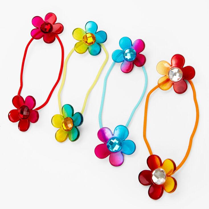 Claire's Club Rainbow Flower Hair Ties - 4 Pack,