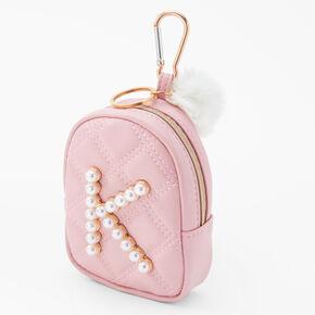Initial Pearl Mini Backpack Keyring - Blush Pink, K,