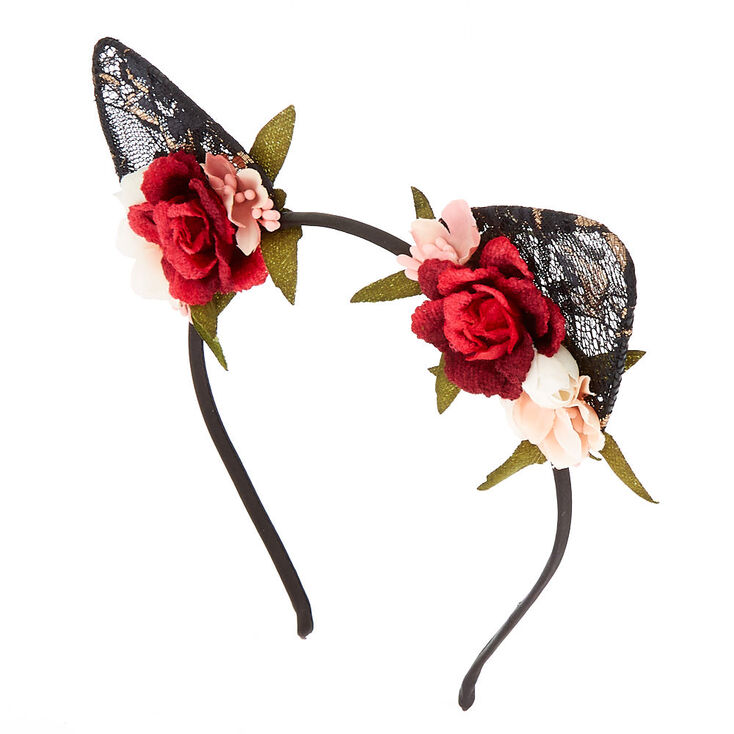 Floral Lace Cat Ears Headband - Black 69d5df6a588