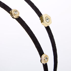 Gold Embellished Double Row Headband - Black,