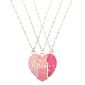 Best Friends Heart Pendant Necklaces - Pink, 3 Pack,