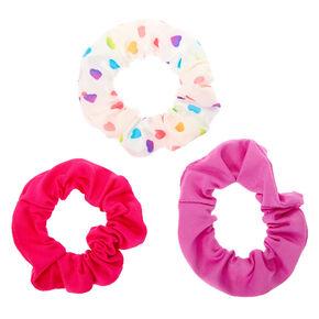 Claire's Club Small Rainbow Heart Hair Scrunchies - 3 Pack,