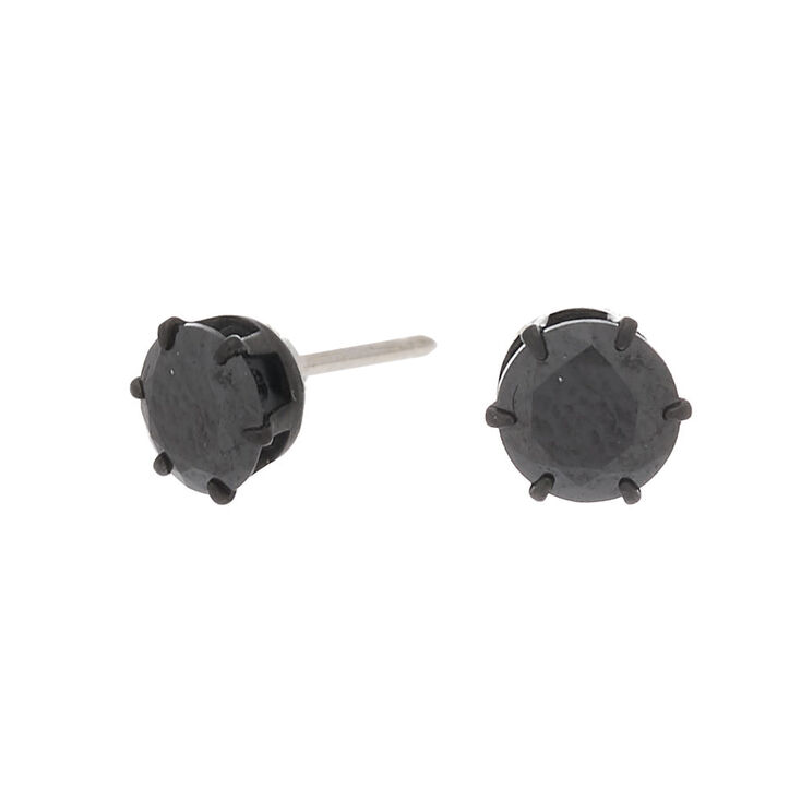 Hematite Titanium Cubic Zirconia Round Stud Earrings - Black, 5MM,
