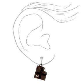"Silver 0.5"" Chocolate Clip On Drop Earrings - Brown,"