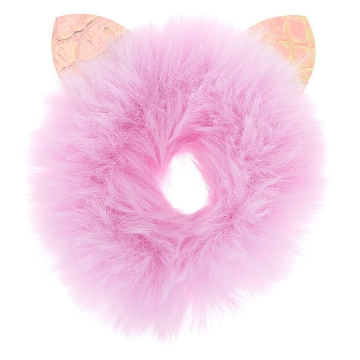 Medium Faux Fur Cat Ear Hair Scrunchie - Lilac,
