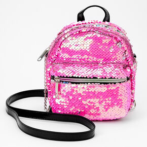 Reversible Sequin Mini Backpack Crossbody Bag - Pink,