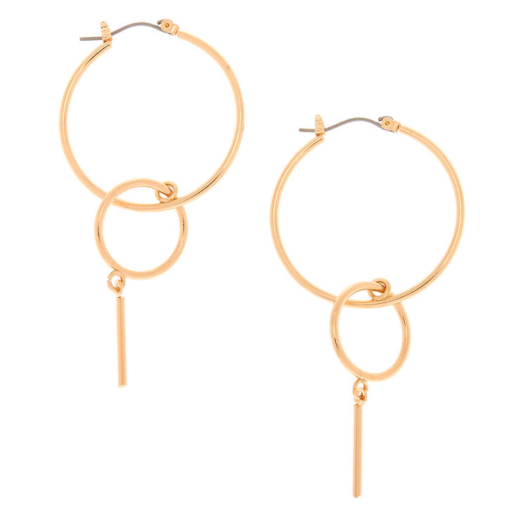 Gold 30MM Bar Double Hoop Earrings,