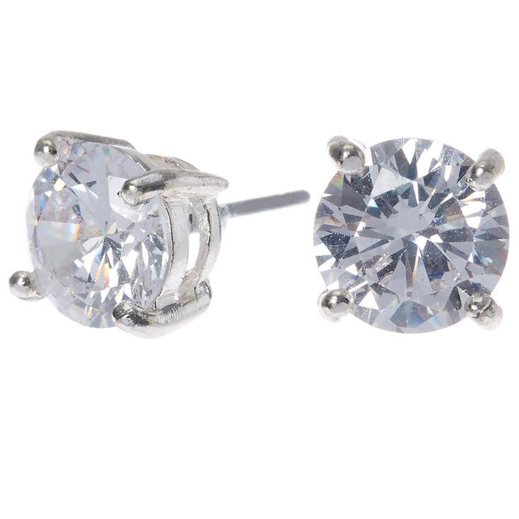 Silver Cubic Zirconia 8mm Round Stud Earrings