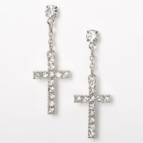 "Silver 1"" Embellished Cross Drop Earrings,"