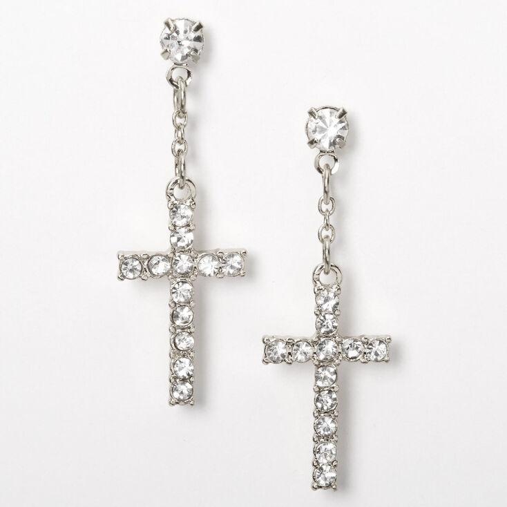 """Silver 1"""" Embellished Cross Drop Earrings,"""