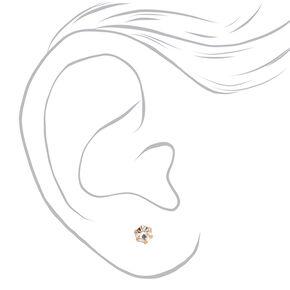Mixed Metal 3MM Crystal Magnetic Stud Earrings - 9 Pack,