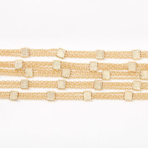 Gold Square Chain Multi Row Choker Necklace,