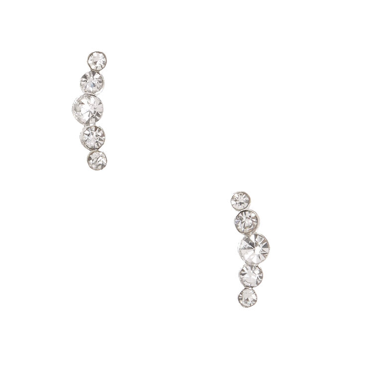Sterling Silver Crystal Crescent Earrings,