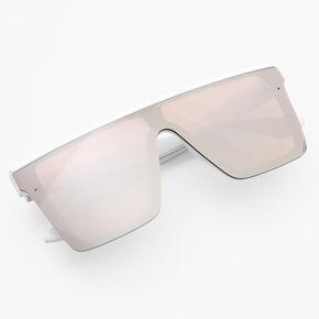 Rose Gold Shield Sunglasses - White,